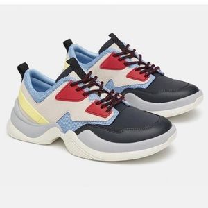 ZARA Fashion Multi Color Leather Sneakers